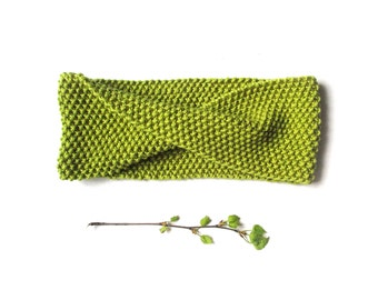 Hand knit headband, green knit headband, head wrap accessory, wool headband