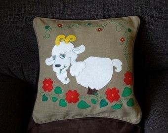 "Goat cushion, pillow Cover ""Jolly Goat"" Handmade, appliqued, animal, Chinese calendar"