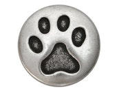 12 Cat Paw 3/4 inch ( 20 mm ) Metal Shank Buttons Antique Silver Color