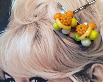 Fruit Salad Hair Pins Vintage 1940 1950 Glass Flower Decorative Bobby Pins West Germany Jewelry
