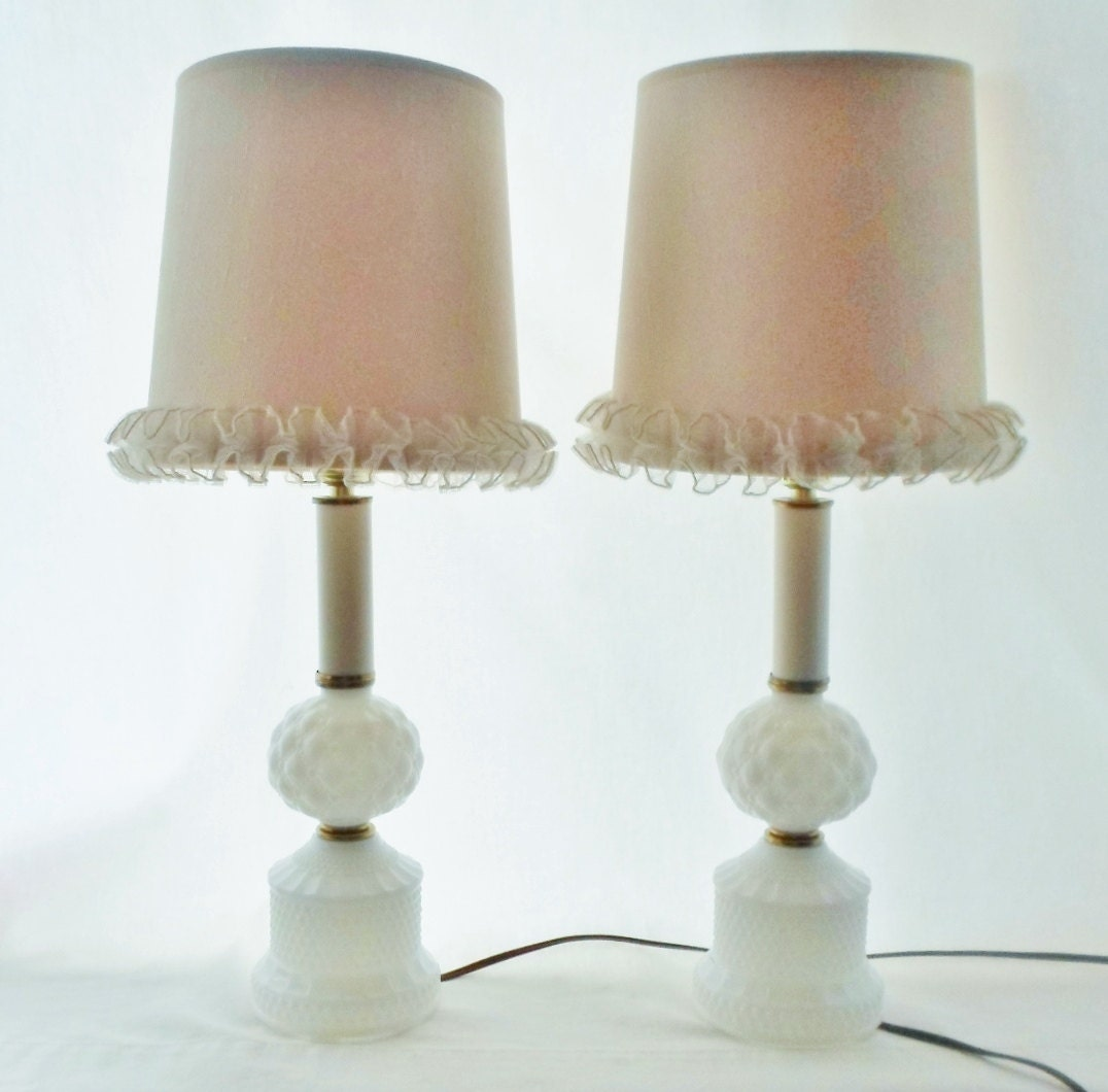 Vintage Hobnail Milk Glass Lamp Set With Ivory Shades With
