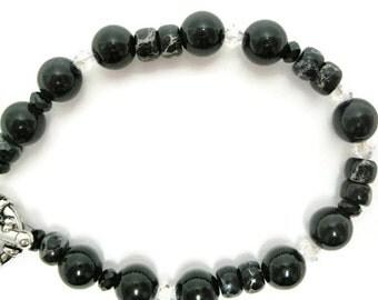 Black Jasper Bracelet beaded stone imperial jasper semiprecious gemstone quartz beadwork Swarovski crystal