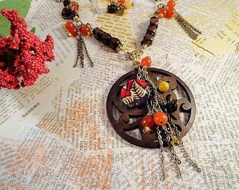 Carved Wood Pendant Necklace With Warm Autumn Colors, Brass, Wood Beads, River Shell, Browns, Golds, Reds, Orange Quartzite, OOAK
