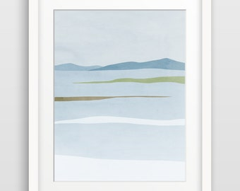 Wall Art Print, Abstract Landscape, Scandinavian Print, Modern Abstract Art, Minimalist Poster, Winter Landscape
