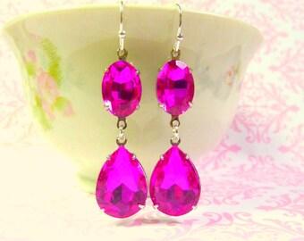Fuchsia Hot Pink Earrings Teardrop Drop October birthstone Wedding Bridal Estate Style Earrings