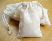 5x7 Natural Unbleached Plain Cotton Bags with a Plain Drawstring Closure, 500 pcs