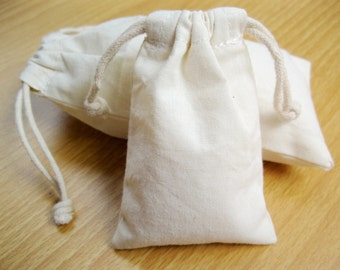Custom Plain Drawstring Muslin Bag - 100% Cotton Gift Bags - Natural Calico Pouches - Baby Shower Favor Package