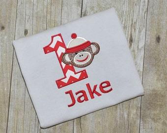 Boy Sock Monkey Applique Embroidery Design - Instant Download