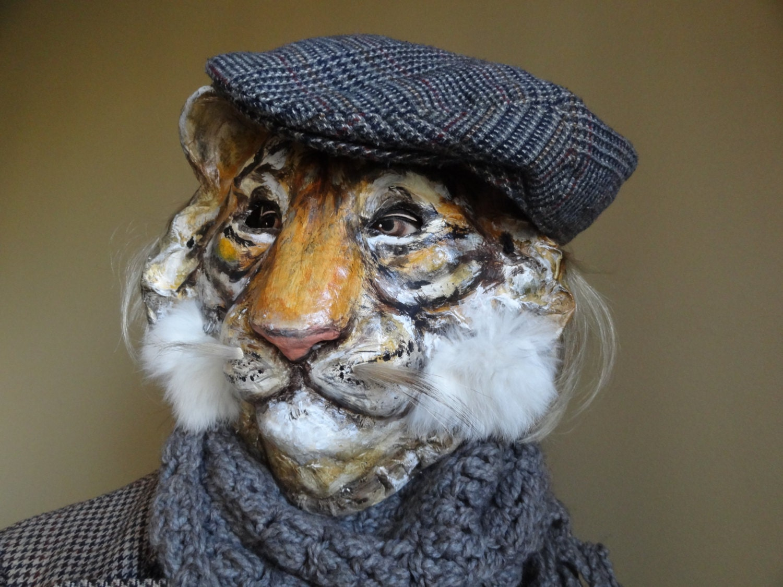 Animal masks paper mache tiger mask tiger costume before - Masque papier mache ...