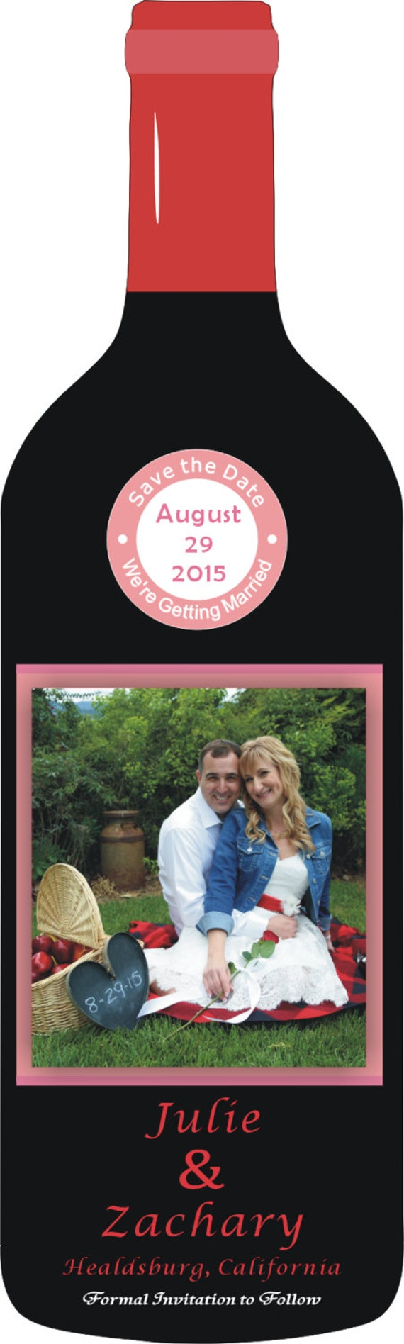 Custom Wine Bottle Save the Date Magnets