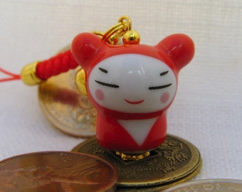 Little Ninja Doll Porcelain Phone/Handbag Charm with Red Braided Strap/Lanyard and Bell. RED