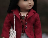 Marsala Linen Blazer with Natural Linen Cuffed Shorts Ensemble for 18 inch doll