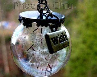 Dandelion jewelry Dandelion wish necklace Terrarium necklace Real dandelion seeds Glass orb Make a wish pendant Lucky Real flower jewelry