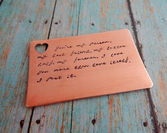 You're my person Hand Stamped Custom Copper Wallet Insert / Custom Metal Card / 7 Year Anniversary /  Love Message /  Anniversary Card