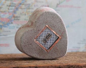 heart anniversary gift // grey cement heart gift // rustic shelf decor // love sculpture // concrete art // heart artwork // love art