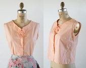 vintage 60s top / 50s top / sleeveless top / sleeveless blouse / pinup top / summer top / pink top / 50s separates / pale pink blouse