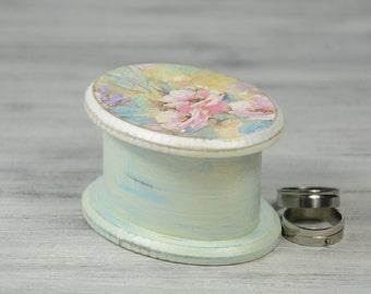 Wedding Ring Bearer box, Ring Bearer Box, Wedding Ring Bearer Pillow, pastel flowers MDF Box , Pillow Alternative