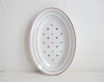 Vintage SERVING TRAY, White, Burgundy Red and Green, Oval shaped Ceramic Plate. Stamped KG, Luneville France, Blandine.