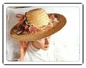 Easter Parade Straw Hat - Summer Wide Brim w Peach Roses & Ribbons    H-006a-040113000