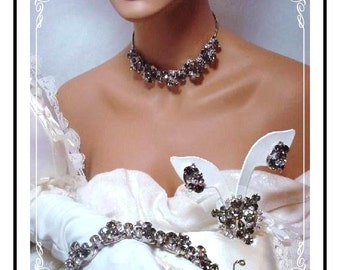 Juliana Grand Parure  -  Smoke and Ice Chatons with Wire-over Rhinestones  Stunning !!!  D&E   Para-547a-052409110