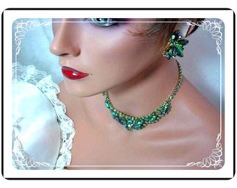 Green Juliana Set - Captivating Green Aurora Borealis D and E Juliana Necklace and Earrings  Demi-308a-071607125