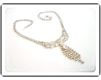 Vintage Clear Rhinestone Necklace - Something old or new for the Bride   Neck-1279a-012312000
