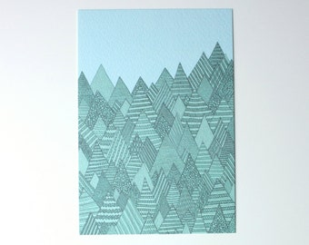 Forest print / Forest illustration / A6 print / Mini art print / Illustration / Contemporary art / Postcard / spring card
