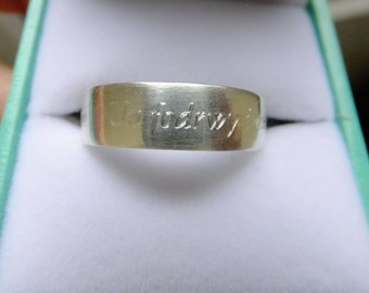Argentium Silver Welsh Love ring, satin finish, Sterling silver wedding ring, engraved in Welsh