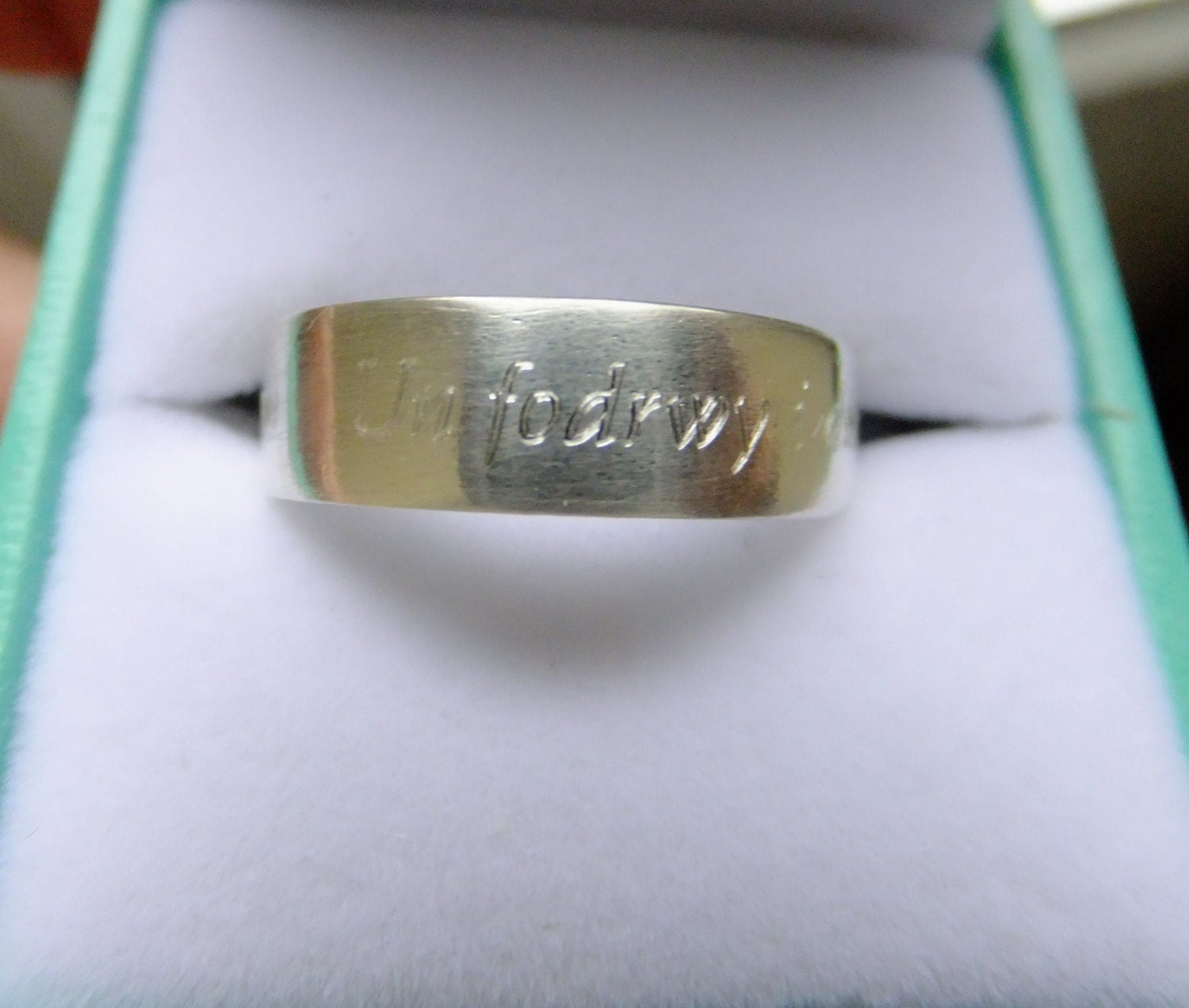 Welsh Wedding Ring: Argentium Silver Welsh Love Ring Satin Finish Sterling