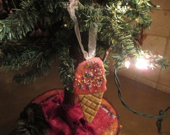 ice cream cone salt dough keepsake ornament