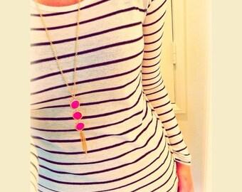 Long Stone Tassel Necklace