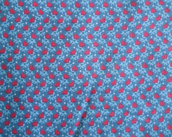 Country/Medium Blue with Red Hearts Fabric Yardage - VIP Print for Cranston Prints