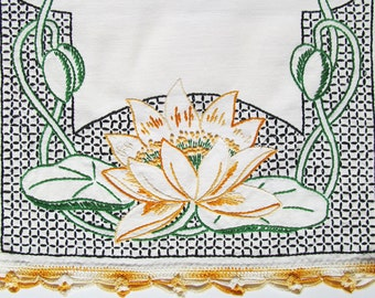 Water Lily Vintage Hand Embroidered Cotton Table Scarf with Crocheted Edging Wonderful Condition
