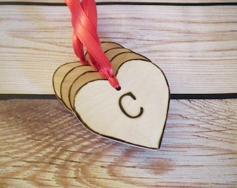 Personalized wooden heart tags with initial of choice, wooden gift tags, wedding favor tags, personalized gift tags, C initial