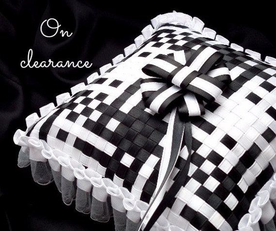On clearance - black and white satin ribbon ring pillow - interwoven satin ribbons and white pleated satin and organza ruffle trim
