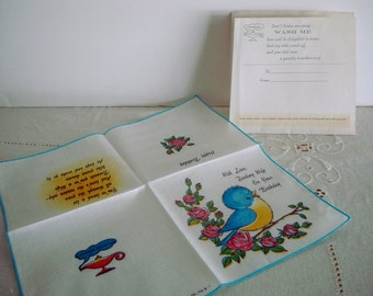 Vintage BIRTHDAY Bluebird HANKIE for your Wife/Partner: Unused Cotton HANDKERCHIEF Greeting Card in Original Bag