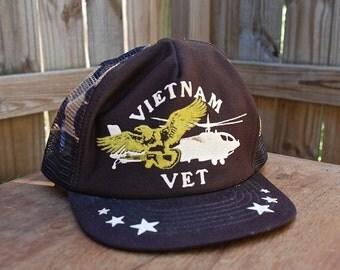 Vietnam vet brown camp mesh back snap back trucker hat USA