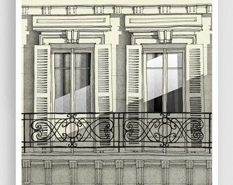 Paris balcony (vertical) - Paris illustration Art Illustration Print Poster Paris decor Home decor Grey Facade Windows Paris Architecture