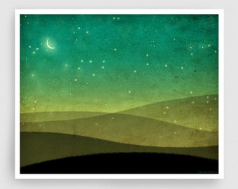 They are also here with us - Fine Art illustration Giclee Print Home decor Wall decor Stars Moon Love Green Wall art Nature art Abstract art