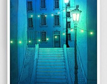 Night walking (blue version) - Paris illustration Montmartre Giclee Art print Poster Home decor City print Blue Turquoise Paris by night