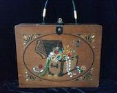 SALE / 1960's Wood Box Purse / Unique Box Purse / Enid Collins-Style Purse / Cigar Box Purse / 1960's Hand Bag