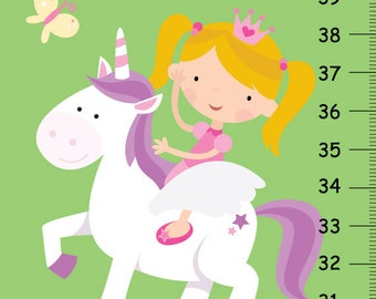 Fairytale Princess Height Chart , Girls Growth Chart with Princess Pink Carriage and Palace, Girls Baby Nursery Wall Decor