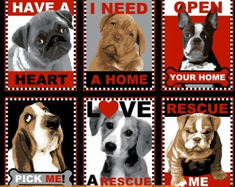 Rescue Me Dogs 100% Cotton Fabric by the yard