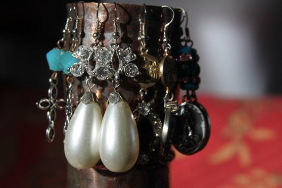 FLower Rhinestones and Pear Pearls assemblage Dangle Earrings Repurposed,  Art Deco,  Vintage beads, Crystals, Pearls