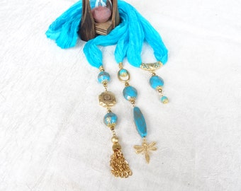 Turquoise Scarf Necklace, Jewelry Scarf,  Turkish Silk Scarf Necklace, Gold Scarf Necklace, Christmas Gifts