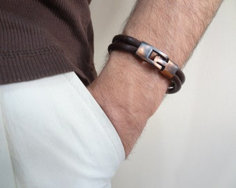 Men's Chocolate Brown Leather Bracelet, Men's Jewelry,  Antiquing Clasp Bracelet Men's Cuff Bracelet, Valentine's Gifts