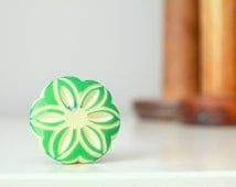 Round Flower Cabinet Knob Green Drawer Pull,  Unique Dresser Drawer Hardware Multiple Colors Available Green Orange Yellow #1045.GN