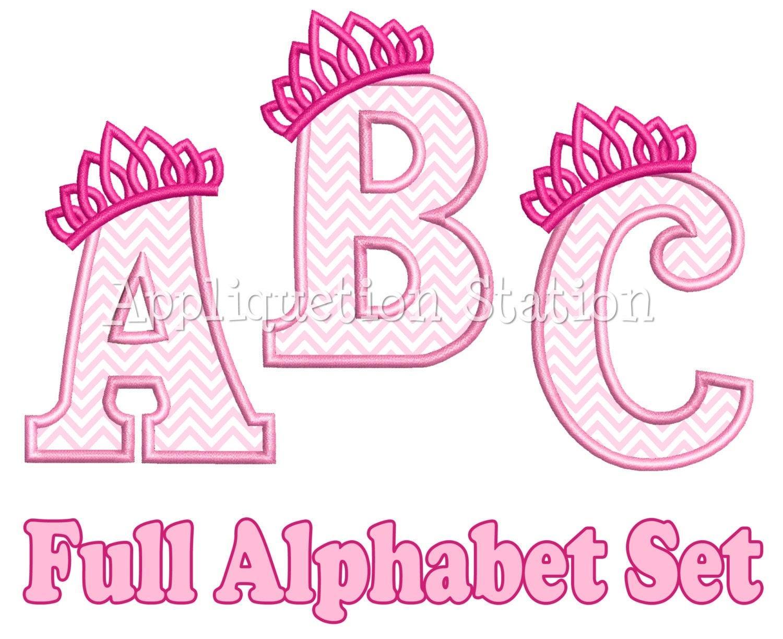 full tiara alphabet set applique machine embroidery design girl princess crown instant download