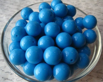 16mm Peacock Blue Beads, 10 pcs, Gumball Beads, Bubblegum Bead, Acrylic Bead, Plastic Bead, Necklace Bead, Round Bead