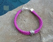 Vintage Silver Flower Charm on a Purple Leather Bracelet or Anklet ~Boho Lovely~